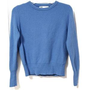 Zara Blue Soft Touch Knit Crewneck Sweater sz M